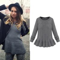 Free Shipping! 2014 New Fall Hot Top Women Fashion Grey Long Sleeve Cable Knit Ruffle Casual Sweater
