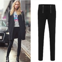 2014 New Europe and New Spring double zipper high-elastic solid  tight pencil pants feet pants