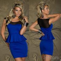 2014 New Fashion Chest Soft Gauze Mesh Women Blue Lady Sexy OL Peplum Dress Party Bodycon Dresses Plus size Free shipping 8973