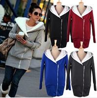 2014 Korea Women Hoodies Coat Warm Zip Up Outerwear Sweatshirts 5 Colors  free shipping  3269