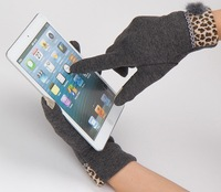 Leopard Touch Screen Gloves For women in winter  For Capasitive Device Tablet Phone iPhone iPad Free Shipping
