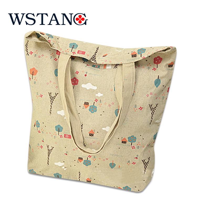 W S Tang 2014 new canvas shopping bag brief shoulder bag environment-friendly handbag reusable bag(China (Mainland))