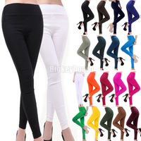 New Womens Candy Color Rainbow Skinny Slim fit Fitness Stretchy women Cotton Pencil Pants Trousers Size XL XXL Free Shipping
