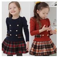 Children clothing new 2014 autumn winter girls plaid  three quarter princess dress kids girl's tutu dress free shipping
