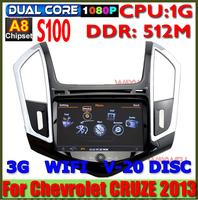 Car DVD player GPS Navi radio for Chevrolet new Cruze 20133G A8 chipset S100 super fast 1G CPU 512M DDR Russian Menu Navitel 7.0