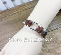 Mens Genuine Leather Bracelets button  Simple Design Leather Bracelet Bangles S060