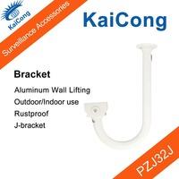 CCTV Camera Bracket Stand Rustproof Outdoor/Indoor J-bracket Monitor Accessories Aluminum Wall Lifting Silver KaiCong PZJ32J