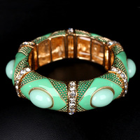 (Min order is $10) New Arrival  Nice Elastic Resin Alloy Bangle Rhinestone Inlaid  Design Jewelry  for Women BR-03111