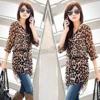 Casual Korean Women's Fashion Nice Leopard Half Sleeve Long Shirt Chiffon Blouse 11624