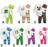 1Pcs Kids Clothing Sets long-sleeve Romper + Hat + Pants Baby Infant Girls Boys Animal Pajamas Cotton Bodysuit Free Shipping