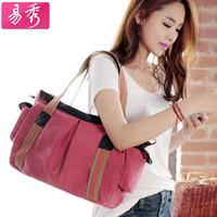 Eshow women canvas shopping bags black pink cute shoulder bags canvas handbag BFK010461