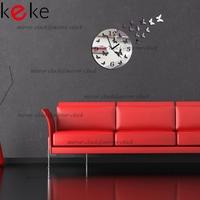 Free shippingWall clock modern design luxury mirror wall clock 3d crystal mirror wall watches wall clocks 11 butterflies