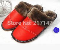 winter genuine leather slippers, slip-resistant cowhide wool slippers indoor