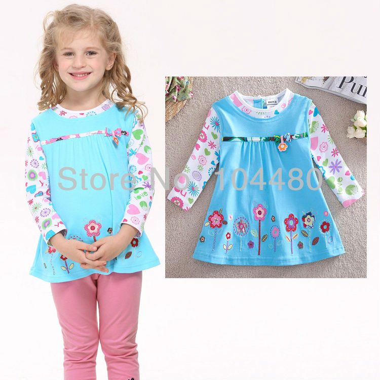 new 2014 fashion nova kids girls children t shirts cute toddler baby wear long sleeve t-shirt tops tess Blue 12/18m - 4/5Y(China (Mainland))