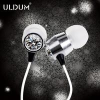 Uldum metal High Quality mobile phone in ear earphones with mic