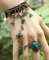 Artilady hand harness rose flower 2013 fashion vintage link finger ring slave chain bracelet Women jewelry new 2014
