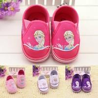 New Arrival 3pcs Fashion cartoon toddler shoes 2014 fairy tale sofia princess elegant purple children's casual shoes HQ-365
