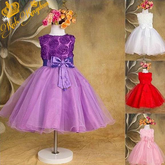 2015 new Girls Dress Princess dress children's wear Party veil Big bow girl wedding flower Baby girls dress pink white(China (Mainland))
