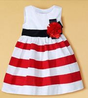 2015 New Baby Girl Dress Red And White Striped Flower Girls Princess Dresses For Kids Clothingsleeveless Girls' Dresses Costumes