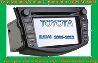 "DHL Free shipping New style 7"" Android 4.0 1G CPU Car DVD Player For toyota RAV4 Navigation GPS dongle MIC 3G WIFI touch screen"
