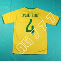 14 15 New World  Cup Camiseta do # 14 DAVID LUIZ Top Thai  Quality @ T rubber & Side Holes @ Men Fotebol Shirts