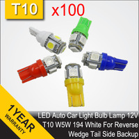 Free Shipping Wholesale 100 PCS T10 7W 5 SMD 5050 LED Car Reverse Backup Light Bulb 9V-16V 194 W5W Side Wedge White Lamp