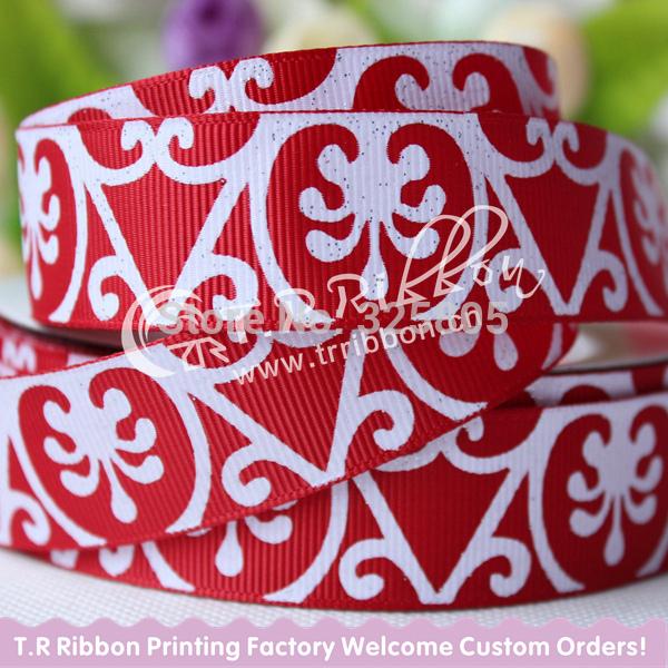 "100yards 7/8"" printed glitter ribbon, welcome custom print ribbon(China (Mainland))"