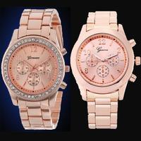 Free Shipping, Bling Fashion Rose Gold Plated CZ Rhinestone Geneva Watches Boy and Girls Men Women Pair Watch