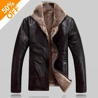 Winter warm motorcycle Leather jacket Men's Casual Brand Jacket luxury fur sheep leather men's fur outerwear design Plus jacket