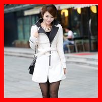 2014 Winter New Arrival Plus Size Long Elegant Slim Woolen Jacket With Belt 4 Colors 1012