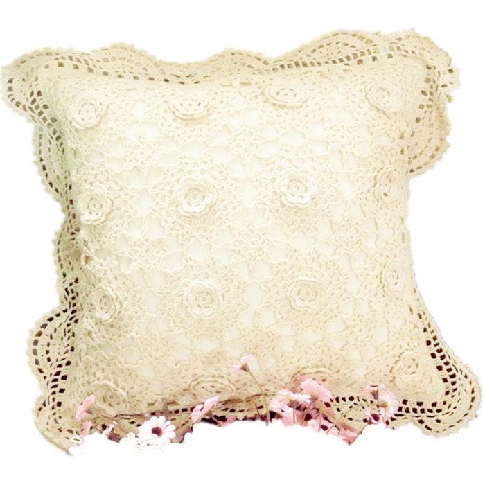 Handmade crochet stereo flower pillows sleeve crochet cushions Mori American beautiful
