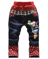 [T C] winter girls jeans new 2014 children's clothing female trousers fashion girls trousers thickening jeans pants