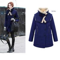 Winter  2014 fashion Women warm overcoat thickening tweeds woolen big Outwear wool thermal Trench Plus Size female