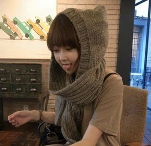 2013 Novel Design Autumn And Winter Thick Neck Wrap For Women Warm Scarf Hooded Knitted(China (Mainland))