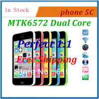 New arrival 1:1 i5c MTK6572 dual core 512MB ram 8GB rom Single nano SIM 8MP Camera 4 inch QHD 3G android phone free shipping