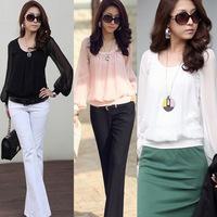 Summer Round neck Chiffon Blouse  Plus Size 2014 Three Color Women Puff Long Sleeve Shirt Clothing Fashion Top