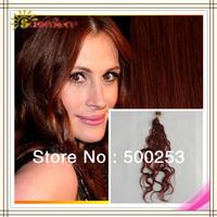 6A 100% Brazilian Virgin Body Wave Stick Tip Human Hair Extensions 20S  #33,Red