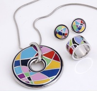 Great Discounts! Brand Product Zinc Alloy Enamel Jewelry Set,1set(necklace,earrings,ring)Hurry! Free Post Shipping**