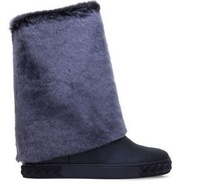 7.5cm Increasing Women Fur Knee Boots rubber sole Snow  long booties 11 colors Leather Round Toe Knight Booty Suede Boot