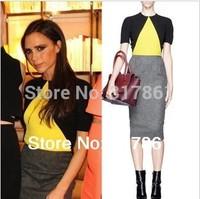 2014 Spring Winter VB Victoria Beckham Color Block Casual Pencil Dress Short-sleeve Knee Length Fashion Dresses