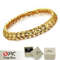 OPK JEWELRY 18k yellow gold filled Leisure bracelet for Men/ Women Hot Selling gold bracelet 8.7mm