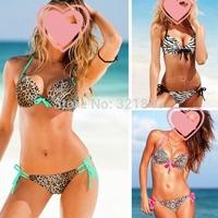 2014 Newest lady swimwear leopard women victoria style swimsuit bikini push up bathing suit womens biquini set,free shipping
