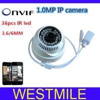 cctv camera IP Camera H.264 Onvif 1.0MP Network IP 1280X720P 3.6MM 36Pcs led  HD camera with P2P, Free shipping