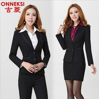 2014 spring and summer work wear women's skirt suit women's formal blazer set work wear for women plus size blazer set * 10258
