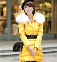 80% white duck down Jacket,Faux fox fur autumn winter thickening women down coat,Plus Size from S to 6XL outerwear down coat