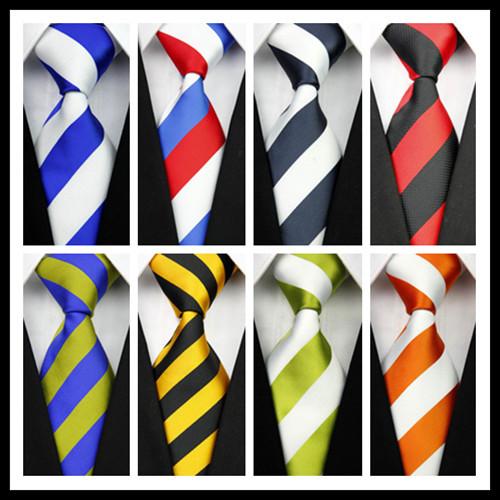 CON01 Blue Red Green White Yellow Black Stripe Man's Classic Silk Polyester Tie Business Wedding Party Men Fashion Necktie(China (Mainland))