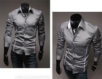 2014 Hot Sale Men Casual Basic Shirt Lapel Collar Long Sleeve Slim Shirts, White, Black, Gray, M, L, XL, XXL, XXXL