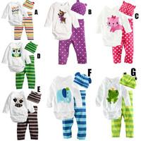 2015 Baby Girls Boys Bodysuit Clothing Sets Infant Pajamas Set: long-sleeve Romper + Hat + Pants