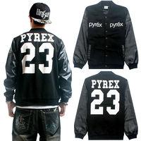 Pyrex 23 Jacket PU Leather Plus Big Loose Men 2014 New Sport Active Baseball Hoodie Sweatshirt 3XL 4XL 5XL Black Hip Hop Coat