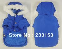Free Shipping Dog Thick Clothing Dog Puffy Jacket Dog Warm Vest Winter Medium Dog Outdoor Wear Hooded Puffy Ski Coat Royalblue